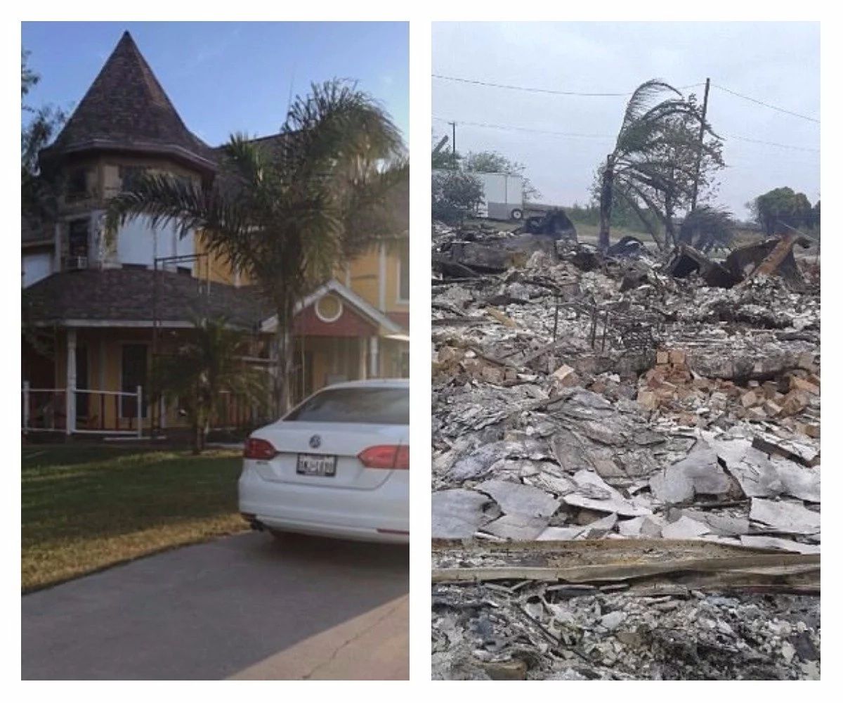 The Rojases residence before and after the hurricane and fire. Photo: Reygarcia2009.wixsite.com