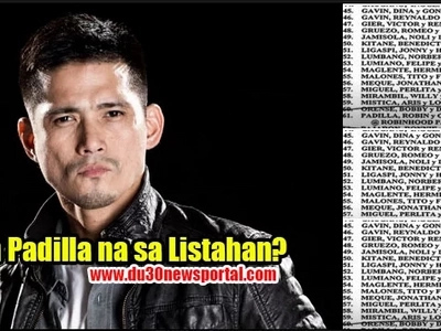 "Robin Padilla is on the ""LIST"""