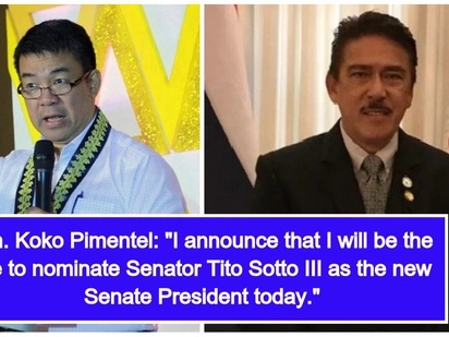 Senator Tito Sotto III nominated by Senator Koko Pimentel III as he stepped down as 'Senate President'