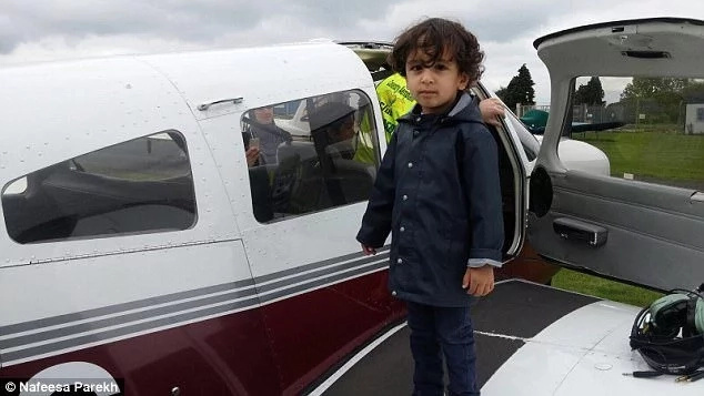 Marwan's little brother joined him on the flight. Photo: Nafeesa Parekh