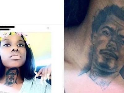 Blind love? Girl tattoos her boyfriend's face on her throat