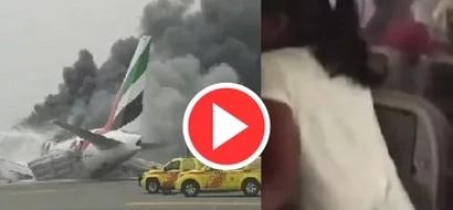 VIDEO: Flight EK521 crashes! Watch the passengers try to escape from the BURNING airplane