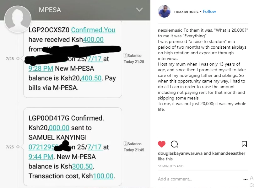 DJ Mo on the spot after artist whom he denied taking bribe from provides MPesa evidence