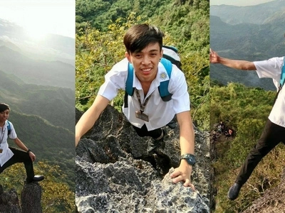 Pinoy student who got stressed from school work decides to go mountain climbing while still wearing his uniform