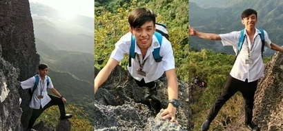 Stressed Pinoy student decides to go mountain climbing while still wearing his school uniform and ID