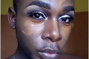 Kenyan man shocks online community after wearing make-up like a woman(Photos)