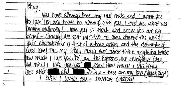 The note Aaron Hernandez left to his fiancée Shayanna Jenkins-Hernandez