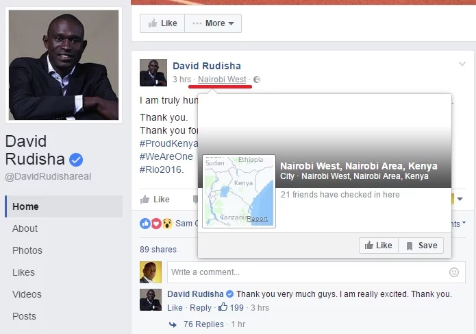 David Rudisha's Facebook handlers flop