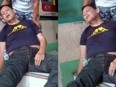 John Regala suffers from high blood pressure outside supermarket in Cavite