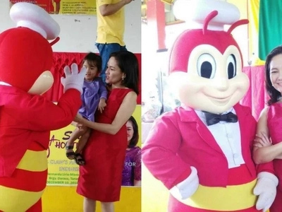 New couple alert? Senator Risa Hontiveros and Jollibee look good together in matching red outfits