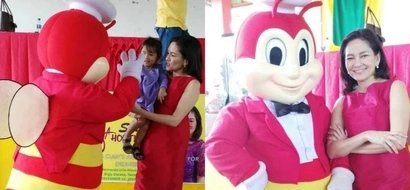 Totally twinning! Senator Risa Hontiveros rocked matching red outfits with Jollibee at a charity event