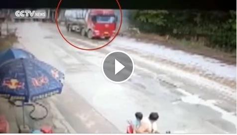 Drifting truck hits store in China