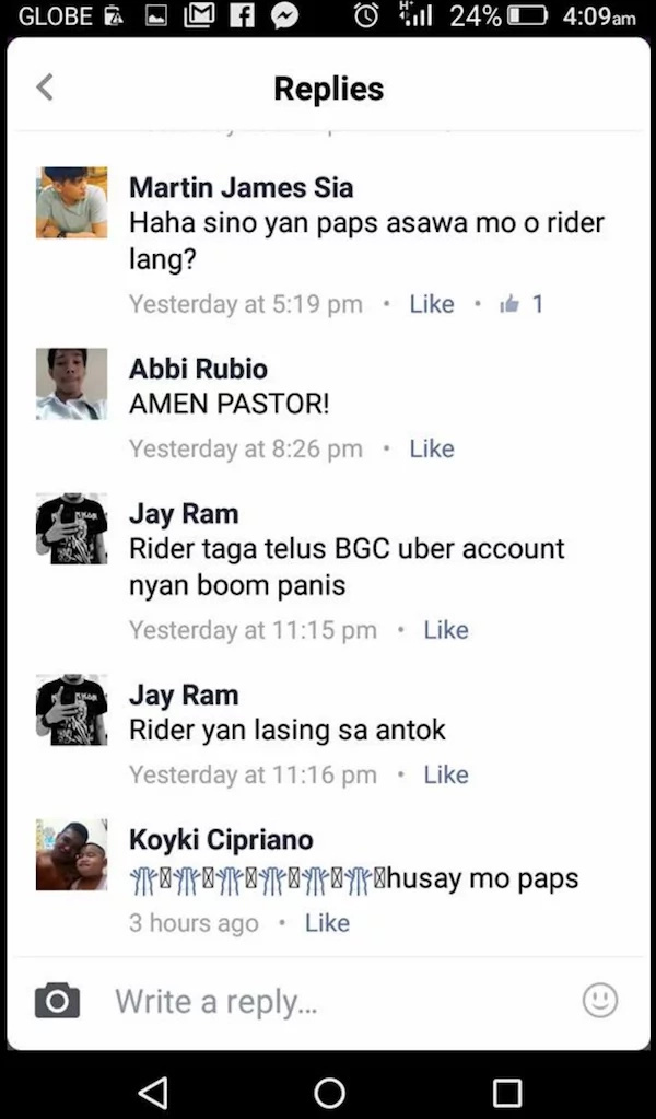 Netizens are enraged at this Uber driver for something he posted online