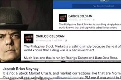 Financial analyst hits Filipino tour guide Carlos Celdran after remark on PH stock market and Duterte's drug war