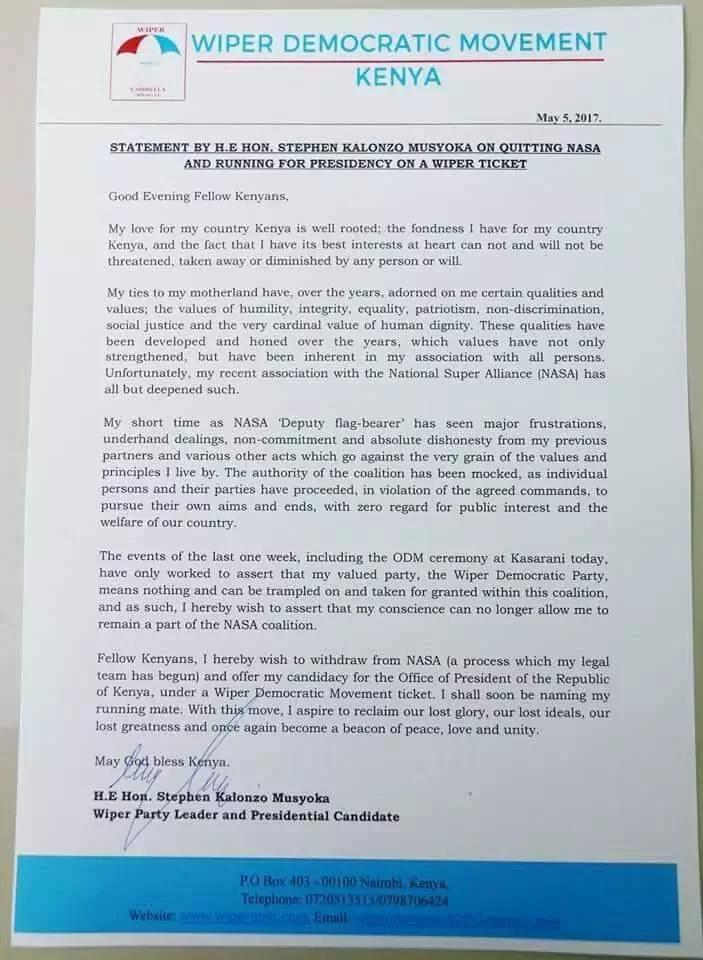 FAKE Kalonzo Musyoka 's resignation letter from NASA cause an online stir