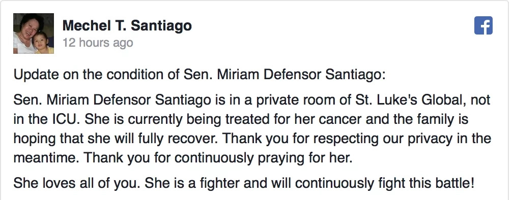 Miriam Santiago undergoes treatment at St. Lukes