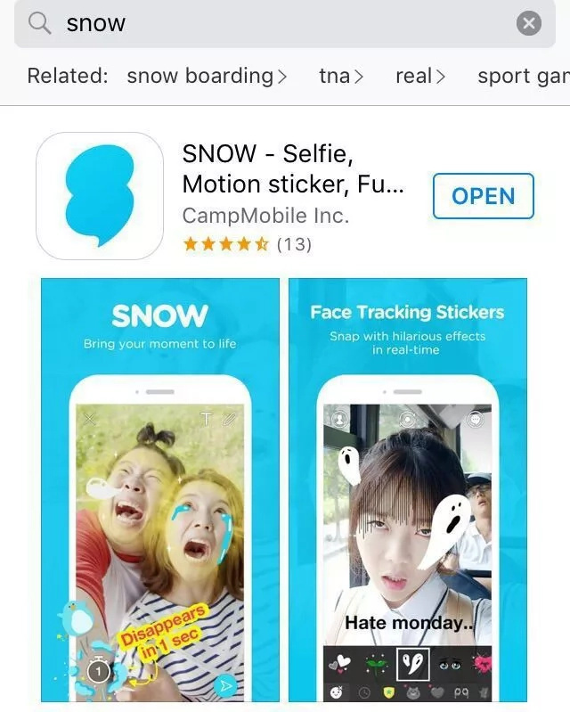 Korean app Snow dominates Asian market