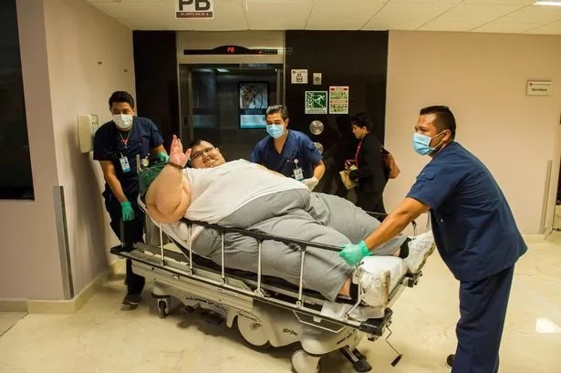 Pedro being wheeled for further tests in hospital before his gastric bypass surgery