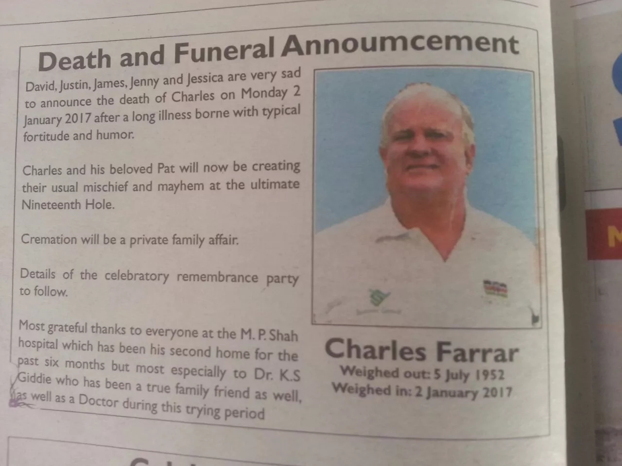 This must be the most FUNNIEST obituary ever written in Kenya