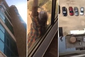 Woman LAUGHS and films her housemaid clinging to 7-floor balcony before falling to the ground (photos, video)