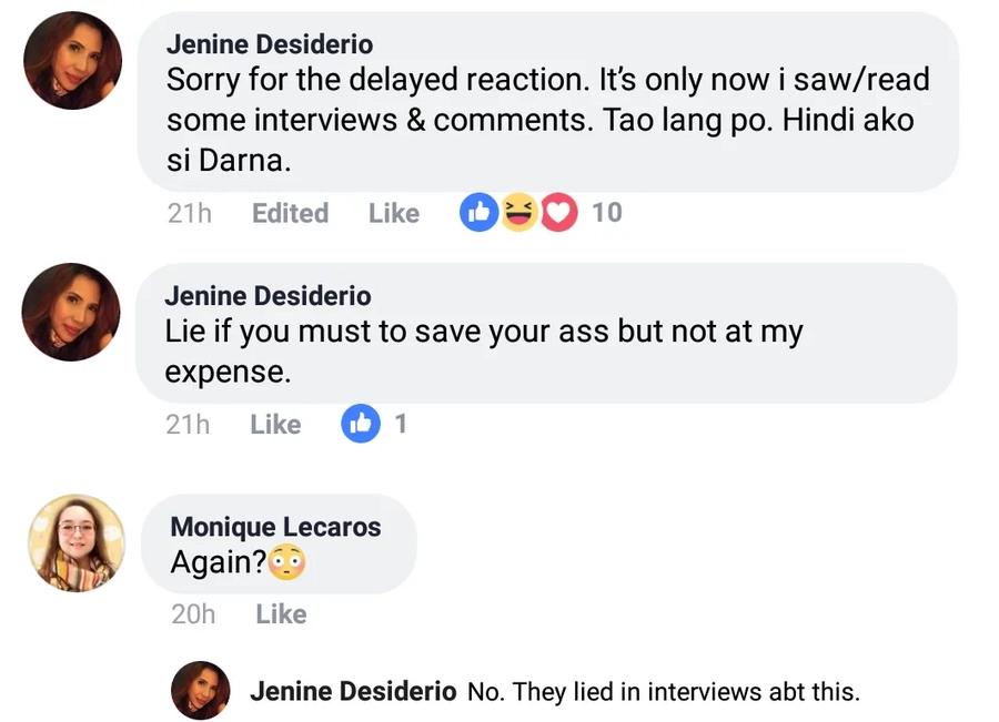 "Gatecrasher daw talaga! Jenine Desiderio stands by her statement over ""gatecrasher incident"""