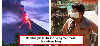 Kulang sa face mask? No problem! Bicolano uses napkin as face mask against Mayon eruption
