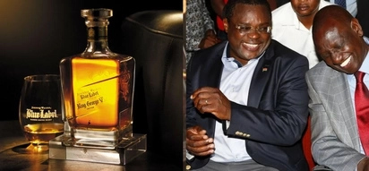 CS Wamalwa, Governor Lusaka drinking alcohol in a radio studio as they get interviewed (photo)