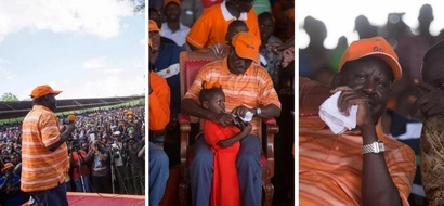 Raila goes to Lodwar and shows his fatherly love to a little girl (photo)