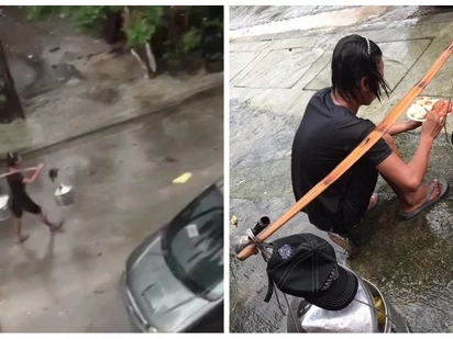Tuloy pa rin ang hanapbuhay! This Pinoy vendor has inspired netizens with his perseverance to work despite the rainy weather