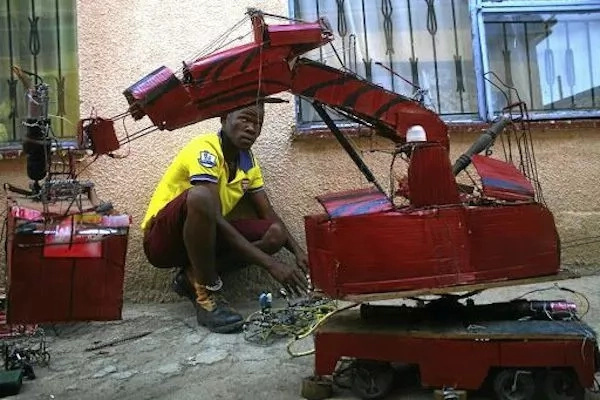 Mpho said he took two weeks to build the robot. Photo: Times Live