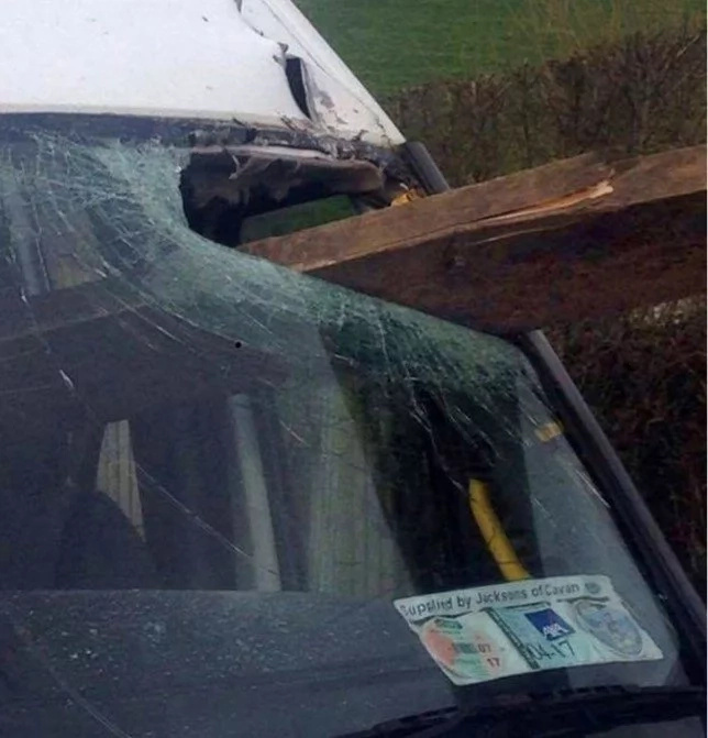 God saves kids from DEATH as huge plank smashes through schoolbus windscreen (photos)