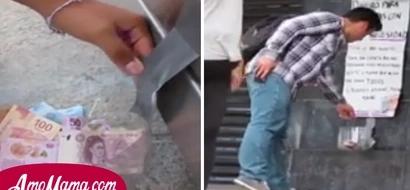 Colocaron un recipiente lleno de dinero en la calle pero de repente la gente comenzó a colocar aún más dinero ¿Por qué?