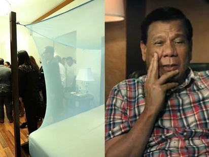 "Humble Tatay Digong. President Rodrigo Duterte uses Josh Aquino's old ""kulambo"" in his Malacañang room"