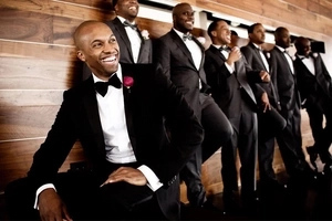 Groom and his 9 friends line up. After music is turned up, they start doing THIS