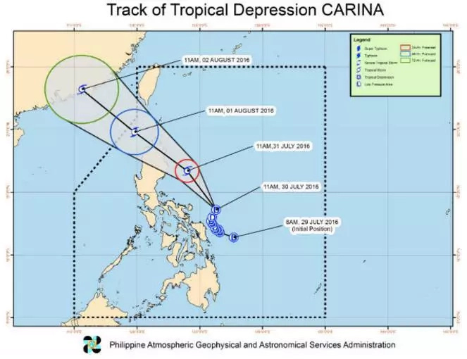 Carina accelerates strength, raises signal no. 1 in 11 areas