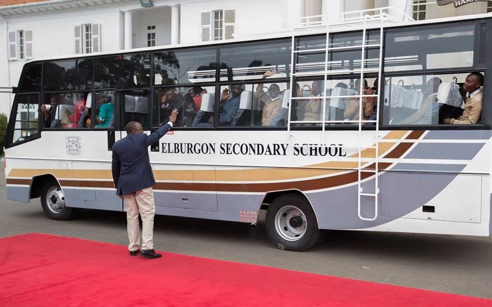 Joy as students receive buses from President Uhuru Kenyatta