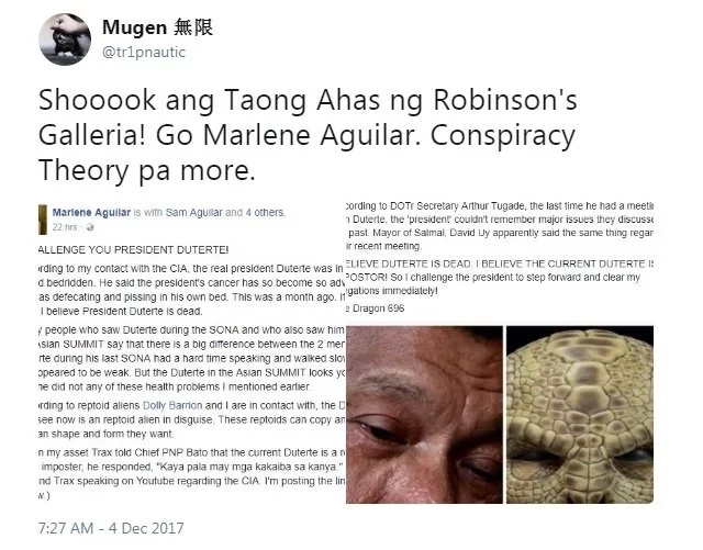 Walang naniwala! Netizens laugh off Marlene Aguilar's claim that current President Duterte is a reptoid alien