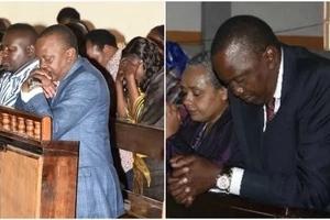 Uhuru caught on camera praying and Kenyans go gaga(video)