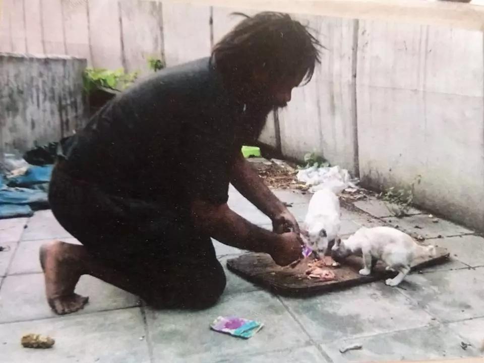 Dum feeding his cats