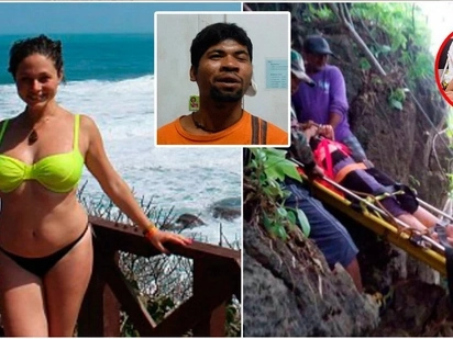 Shocking moment young girl fell off the cliff trying to run from her sex attacker in Thailand