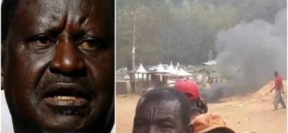 Raila Odinga amgeukia Rais Uhuru baada ya jukwaa lake kugeuzwa majivu Meru
