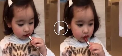 Look Who Messed Up With Vicky Belo's Lipstick! Cute, Right?