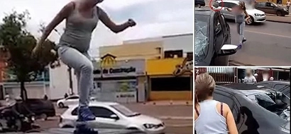 PHOTOS, VIDEO: Pregnant Wife Smashes Husband's Car With Her Bare Hands For Affair