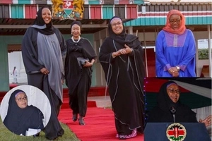 Delightful photos of Margret Kenyatta dressed like a Muslim woman