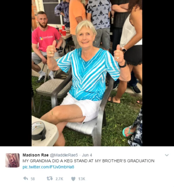"And the ""Coolest Grandma"" award goes to… This 79-year-old grandmother does a celebratory keg stand for grandson's graduation"