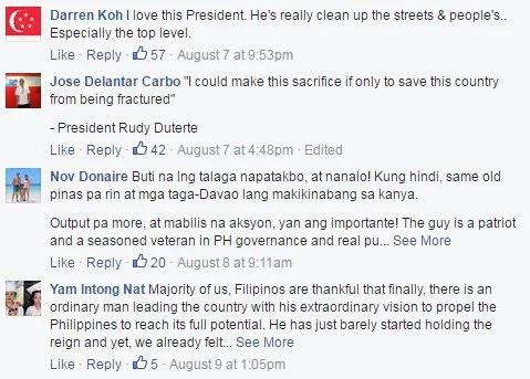 Singaporeans supportive of Duterte's methods