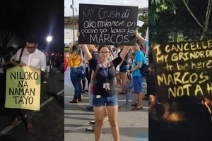 Katatawanang may laman! Anti-Marcos activists flash witty signs at rallies