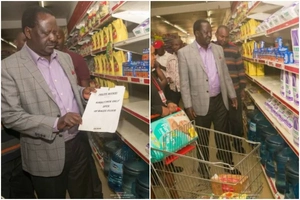 Raila goes shopping for Unga and experiences what many Kenyans have encountered -photos