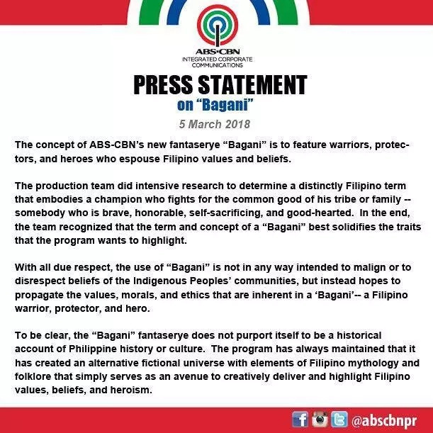 ABS-CBN releases statement regarding the alleged misuse of 'Bagani'