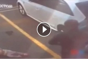 Mother heartlessly slaps and kicks child in public